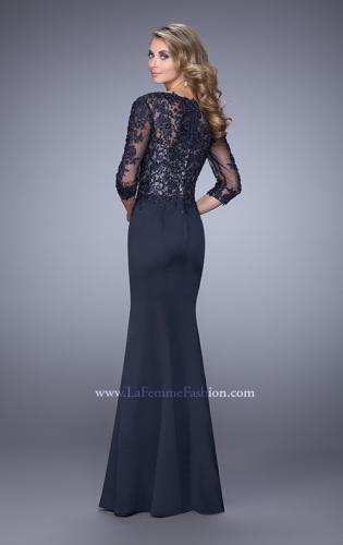 Picture of: Satin Mermaid Dress with Beading and 3/4 Sleeves, Style: 21673, Back Picture