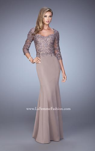 Picture of: Satin Mermaid Dress with Beading and 3/4 Sleeves, Style: 21673, Detail Picture 1