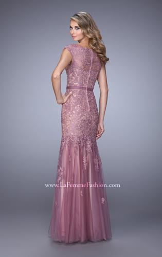Picture of: Lace and Tulle Dress with Sheer Lace Capped Sleeves, Style: 21677, Back Picture