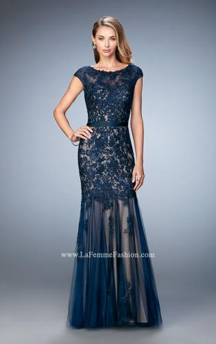Picture of: Lace and Tulle Dress with Sheer Lace Capped Sleeves, Style: 21677, Detail Picture 1