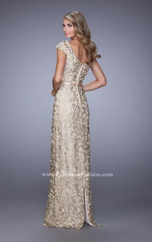 Picture of: Metallic Lace Gown with Cap Sleeves and Satin Belt, Style: 21680, Back Picture