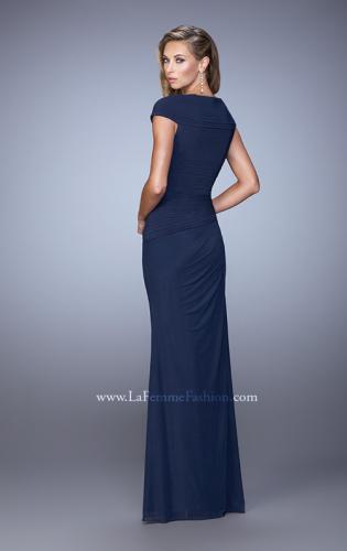 Picture of: Ruched Cap Sleeve Evening Dress with Sweetheart Neck, Style: 21694, Back Picture