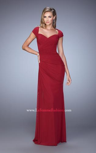 Picture of: Ruched Cap Sleeve Evening Dress with Sweetheart Neck, Style: 21694, Detail Picture 1