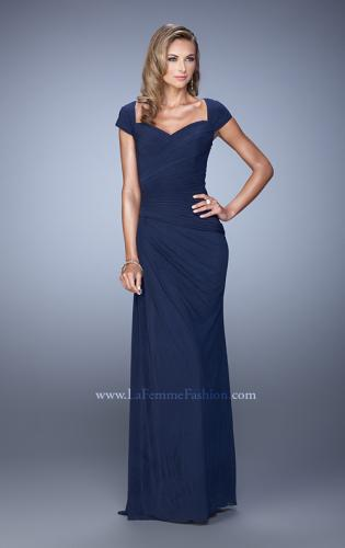 Picture of: Ruched Cap Sleeve Evening Dress with Sweetheart Neck, Style: 21694, Detail Picture 2
