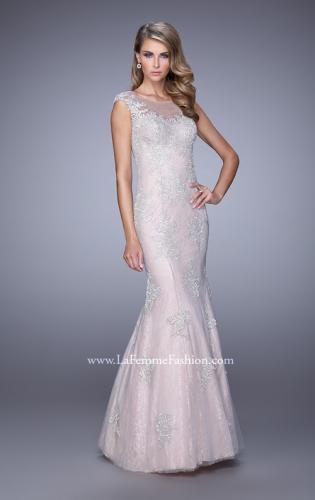 Picture of: Dress with Mermaid Skirt and Sheer Beaded Lace Sleeves, Style: 21699, Main Picture