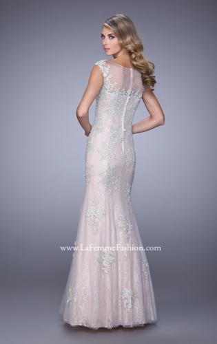 Picture of: Dress with Mermaid Skirt and Sheer Beaded Lace Sleeves, Style: 21699, Back Picture