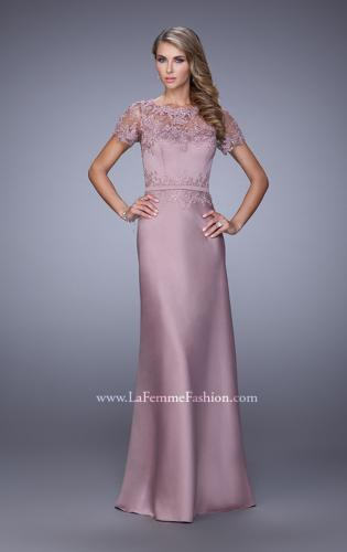 Picture of: Satin Dress with Sheer Sleeves, Belt, and Lace Trim, Style: 21701, Main Picture