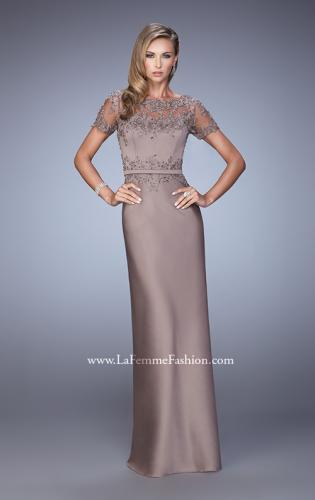 Picture of: Satin Dress with Sheer Sleeves, Belt, and Lace Trim, Style: 21701, Detail Picture 1