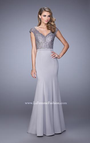 Picture of: Satin Dress with Mermaid Skirt and Lace Cap Sleeves, Style: 21702, Main Picture