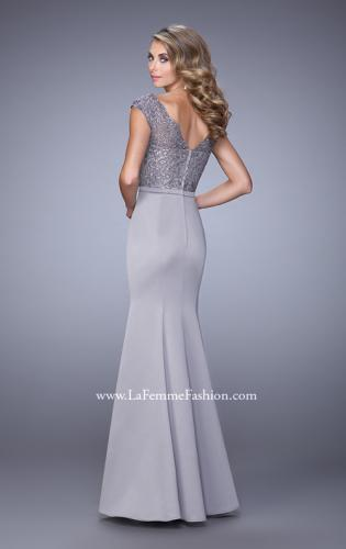 Picture of: Satin Dress with Mermaid Skirt and Lace Cap Sleeves, Style: 21702, Back Picture