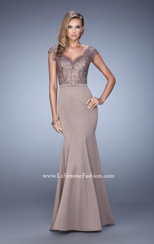 Picture of: Satin Dress with Mermaid Skirt and Lace Cap Sleeves, Style: 21702, Detail Picture 1