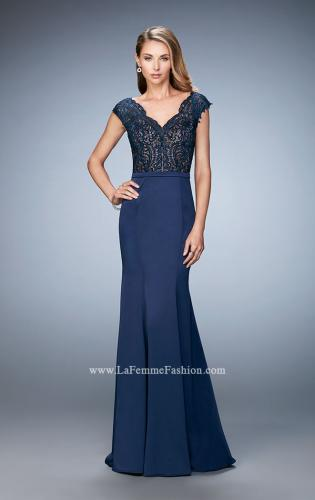Picture of: Satin Dress with Mermaid Skirt and Lace Cap Sleeves, Style: 21702, Detail Picture 2