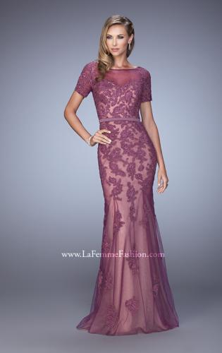 Picture of: Short Sleeve Dress with Lace Appliques and Keyhole Back, Style: 21703, Detail Picture 1