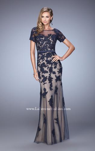 Picture of: Short Sleeve Dress with Lace Appliques and Keyhole Back, Style: 21703, Detail Picture 2