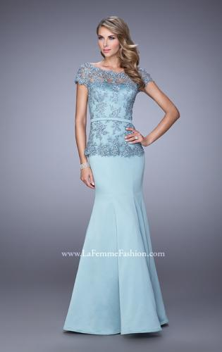 Picture of: Satin Mermaid Dress with Sheer Lace Overlay and Belt, Style: 21706, Main Picture