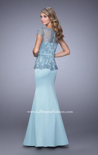Picture of: Satin Mermaid Dress with Sheer Lace Overlay and Belt, Style: 21706, Back Picture