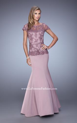 Picture of: Satin Mermaid Dress with Sheer Lace Overlay and Belt, Style: 21706, Detail Picture 1
