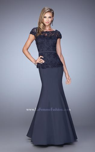 Picture of: Satin Mermaid Dress with Sheer Lace Overlay and Belt, Style: 21706, Detail Picture 2