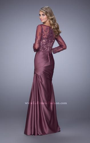 Picture of: Satin Dress with Long Sheer Net Sleeves and Beading, Style: 21708, Back Picture