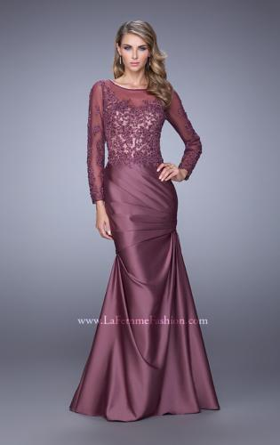 Picture of: Satin Dress with Long Sheer Net Sleeves and Beading, Style: 21708, Detail Picture 1