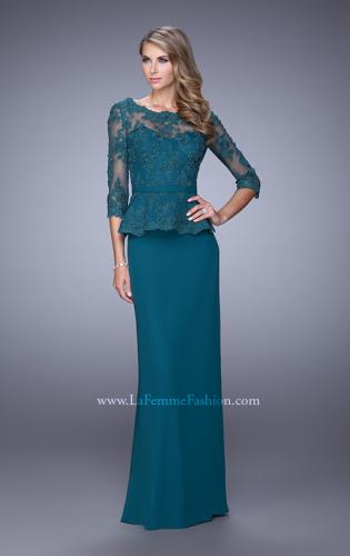 Picture of: Crepe Chiffon Dress with 3/4 Length Sleeves and Belt, Style: 21709, Main Picture