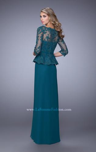 Picture of: Crepe Chiffon Dress with 3/4 Length Sleeves and Belt, Style: 21709, Back Picture