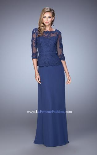 Picture of: Crepe Chiffon Dress with 3/4 Length Sleeves and Belt, Style: 21709, Detail Picture 1