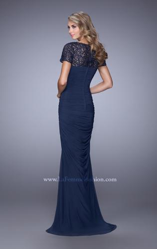 Picture of: Short Sleeve Embellished Dress with Rhinestones, Style: 21713, Back Picture