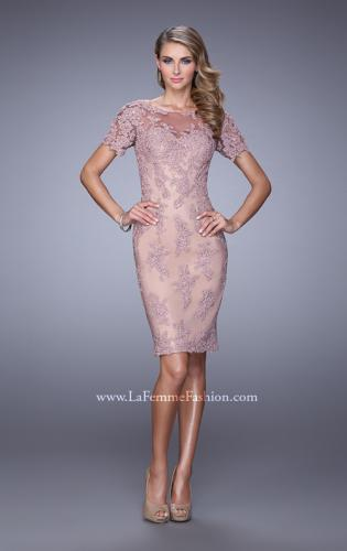 Picture of: Short Sleeve Lace Applique Cocktail Dress with Back Slit, Style: 21717, Main Picture