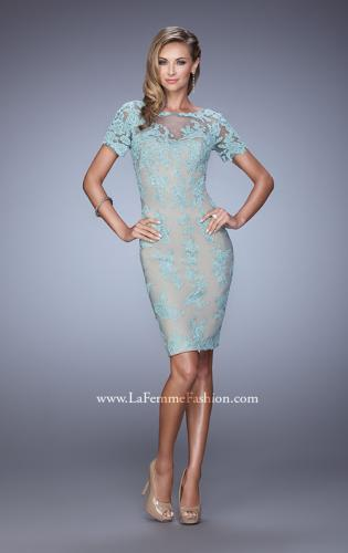 Picture of: Short Sleeve Lace Applique Cocktail Dress with Back Slit, Style: 21717, Detail Picture 1