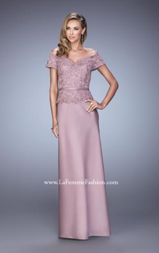 Picture of: Sultry Satin Dress with Off the Shoulder Sleeves, Style: 21726, Main Picture