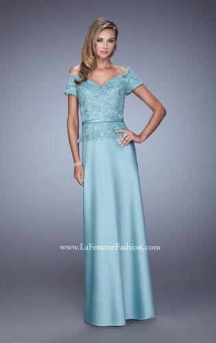 Picture of: Sultry Satin Dress with Off the Shoulder Sleeves, Style: 21726, Detail Picture 1