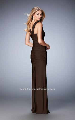Picture of: Jersey Sheath Gown with Ruching and Scoop Neckline, Style: 21730, Back Picture