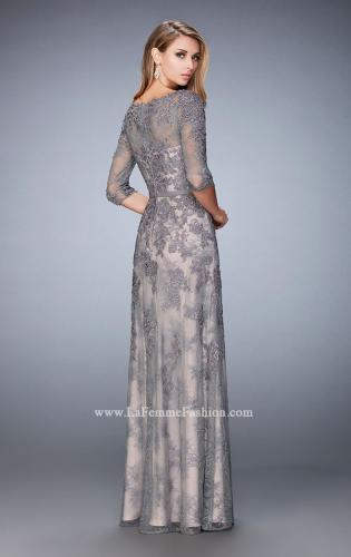 Picture of: Evening Gown with Lace Overlay, Belt, and 3/4 Sleeves, Style: 21740, Back Picture