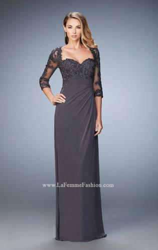 Picture of: Net 3/4 Sleeve Gown with Lace and Jewels, Style: 21750, Main Picture