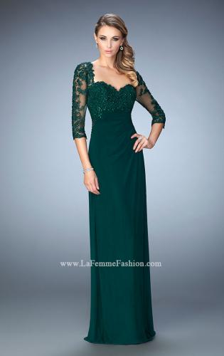 Picture of: Net 3/4 Sleeve Gown with Lace and Jewels, Style: 21750, Detail Picture 1