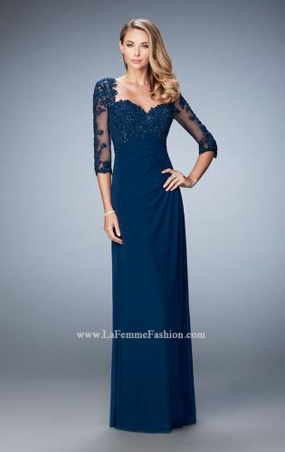 Picture of: Net 3/4 Sleeve Gown with Lace and Jewels, Style: 21750, Detail Picture 2