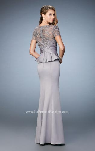 Picture of: Satin Evening Gown with Peplum Waist and Embellishments, Style: 21760, Back Picture