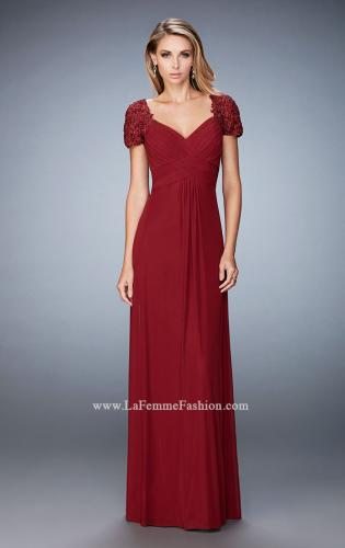 Picture of: Pleated Bodice Short Sleeve Evening Gown with Lace, Style: 21765, Main Picture