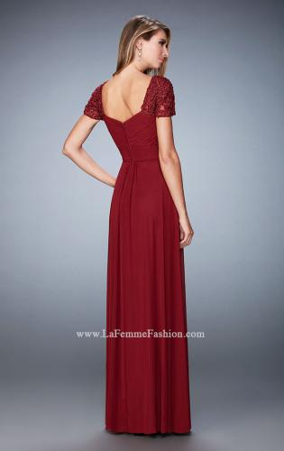 Picture of: Pleated Bodice Short Sleeve Evening Gown with Lace, Style: 21765, Back Picture