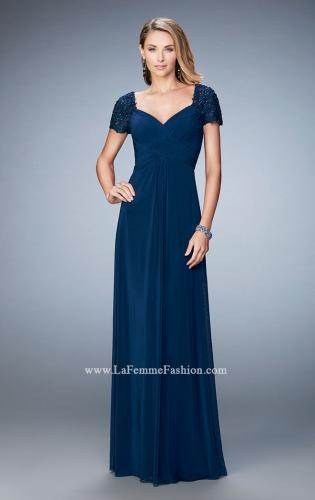 Picture of: Pleated Bodice Short Sleeve Evening Gown with Lace, Style: 21765, Detail Picture 1