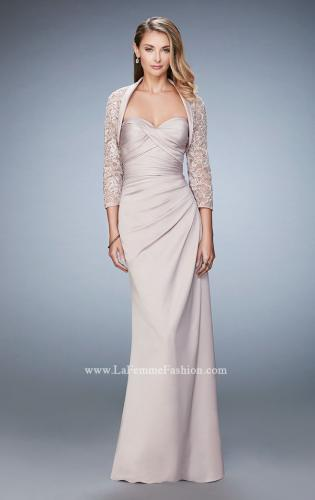 Picture of: Satin Evening Gown with Cropped Lace Jacket, Style: 21776, Main Picture