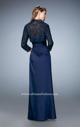 Picture of: Satin Evening Gown with Cropped Lace Jacket, Style: 21776, Back Picture