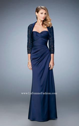 Picture of: Satin Evening Gown with Cropped Lace Jacket, Style: 21776, Detail Picture 2