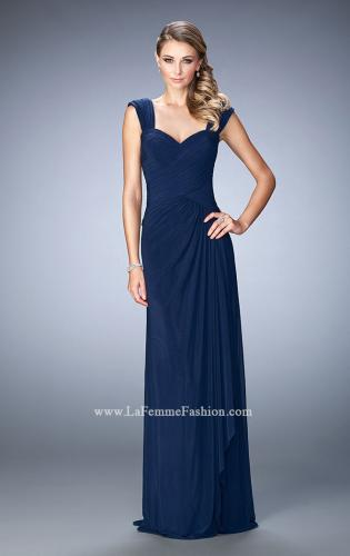Picture of: Elegant Gown with Cap Sleeves and Pleated Bodice, Style: 21783, Main Picture