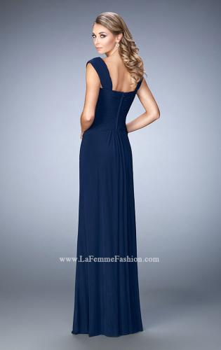 Picture of: Elegant Gown with Cap Sleeves and Pleated Bodice, Style: 21783, Back Picture