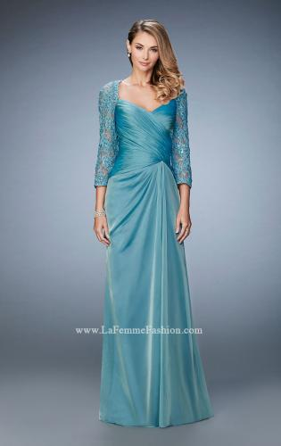 Picture of: Elegant Gown with Lace and Jewel Embellished Sleeves, Style: 21805, Main Picture