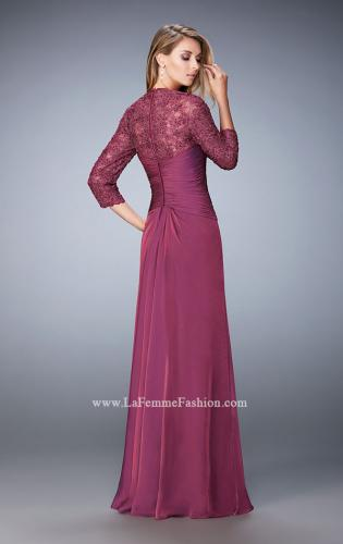 Picture of: Elegant Gown with Lace and Jewel Embellished Sleeves, Style: 21805, Back Picture