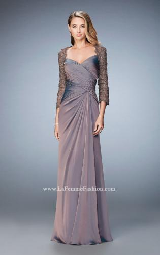 Picture of: Elegant Gown with Lace and Jewel Embellished Sleeves, Style: 21805, Detail Picture 2