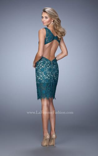 Picture of: V Neck Cocktail Dress with Cut Outs and Lace Overlay, Style: 21815, Back Picture